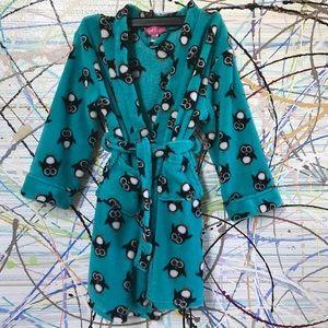 Sz L (7/8) Girl Thing bathrobe turquoise penguins